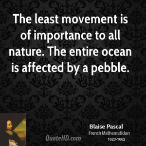 The least movement is of importance to all nature. The entire ocean is ...