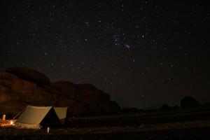 Starry night over Wadi Rum