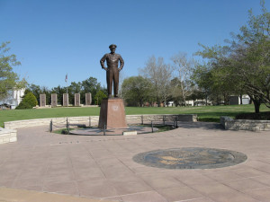 Statue of Eisenhower in the center of the complex of buildings, museum ...