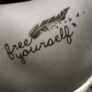 Free yourself quote feather birds flying unique clever back shoulder ...