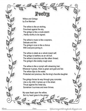 Willow and Ginkgo Poem - Similies Study- Resources for Our Living ...