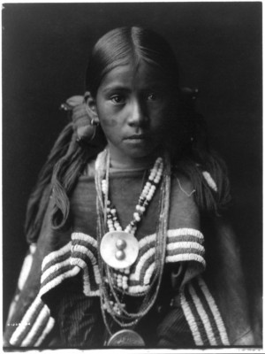 Jicarrila native girl in feast dress, Edward S. Curtis, USA, 1905 ...