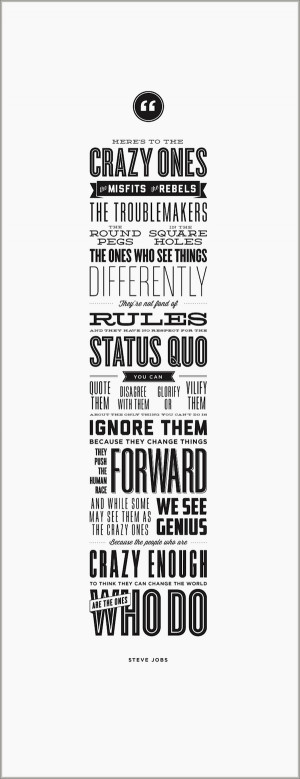 Crazy People Quotes The crazy ones letterpress