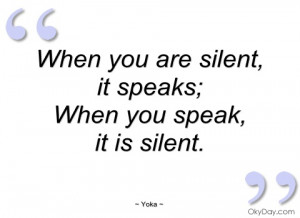 imagem when you are silent yoka
