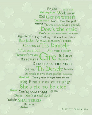 Get a free printable map of Irish sayings and Irish slang words in an ...