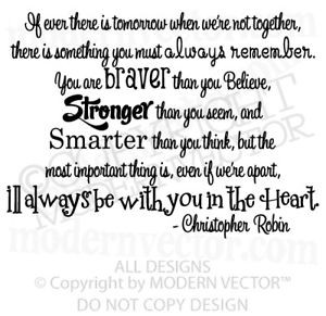 winnie the pooh quote vinyl wall decal christopher r ebay
