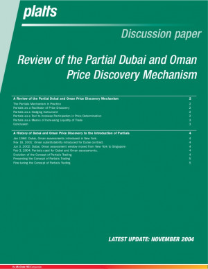 Review of the Partial Dubai and Oman Price Discovery Mechanism