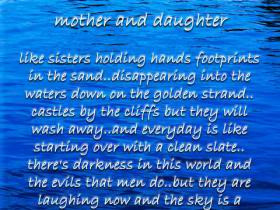 Mother And Daughter Like Sisters Holding Hands Footprints In The Sand