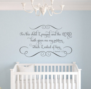 For This Child I Prayed Scripture Vinyl Wall Decal Bible Verse ...