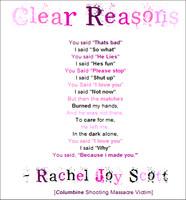 Clear Reasons by Rachel Scott by XFiVESTRiDESX