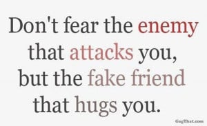 Fake friends are definitely far worse than an obvious enemy!