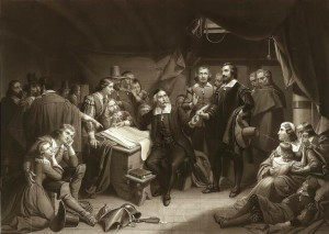 William Brewster signing the Mayflower Compact (19th century painting ...