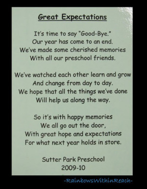 ... for end of School, Preschool rhyme for goodbye via RainbowsWithinReach