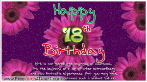 Happy 18th Birthday Greeting Ecard