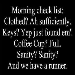 Morning check list. Clothed? adequately. Keys? Just found them. Coffee ...