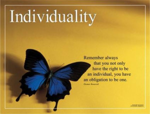 ... Laminated. INDIVIDUALITY theme with Eleanor Roosevelt quote