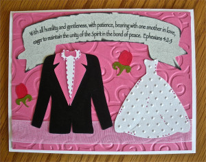 The Bible verse on this wedding card is from Ephesians 4:2-3 and reads ...