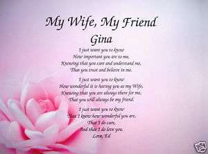 Personalized Poem To Wife Birthday Mothers Day Christmas Gift Idea