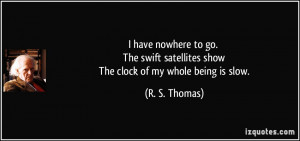 ... satellites show The clock of my whole being is slow. - R. S. Thomas