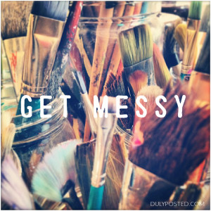 get messy photo of paintbrushes