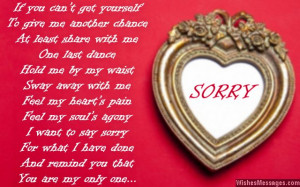 Sweet I am sorry card message to boyfriend from girlfriend