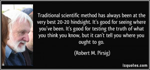 scientific method has always been at the very best 20-20 hindsight ...