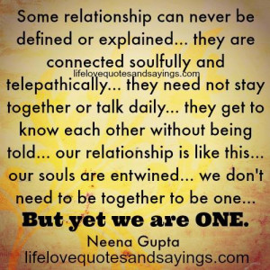 Some Relationship Can Never Be Defined Or Explained.