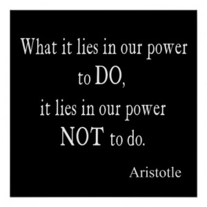 Vintage Aristotle Power Inspirational Quote Poster