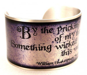 Macbeth Witches Quote Bracelet, Silver Purple Shakespeare Jewelry ...