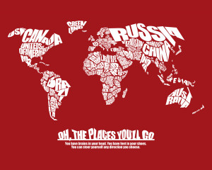Oh The Places You'll Go - World Word Map with Dr. Seuss Quote Canvas ...