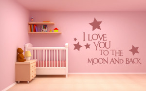 Love You To The Moon And Back Wall Sticker Love Quotes Wall Art ...