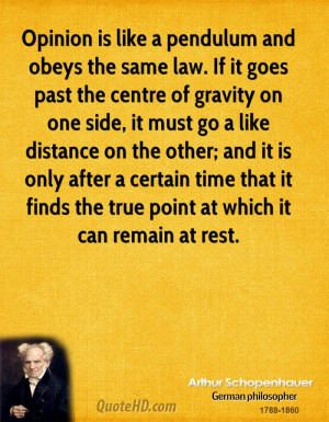 Opinion is like a pendulum and obeys the same law. If it goes past the ...