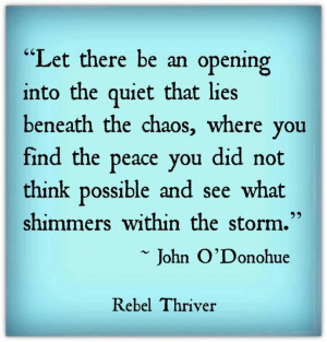 See what shimmers within the storm. ~ John O'Donahue