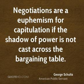 George Schultz - Negotiations are a euphemism for capitulation if the ...