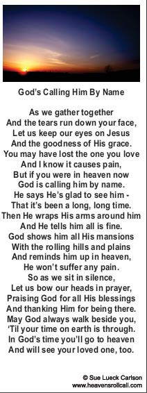 More Christian Poems on Death - Click Here