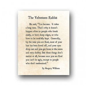 Velveteen Rabbit Quote Margery Williams by ShadetreePhotography, $12 ...