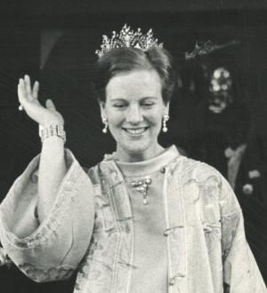 Queen Margrethe II of Denmark (born 1940) wears the Alexandrine ...