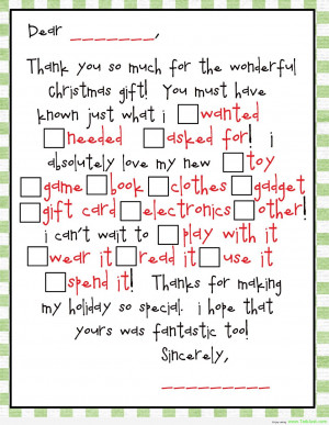 Dear, Thank You So Much For The Wonderful Christmas Gift. You Must ...