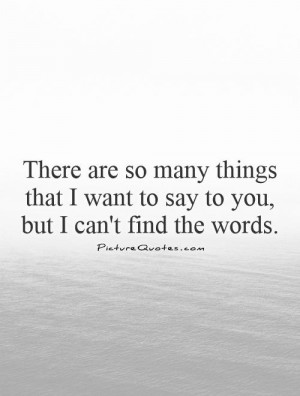 There are so many things that I want to say to you, but I can't find ...