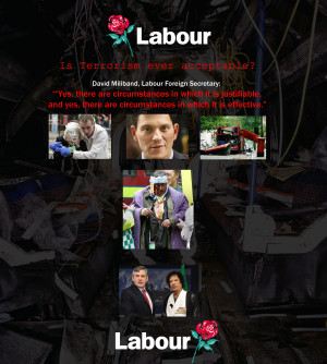 ... circumstances in which terrorism was justified, David Miliband said