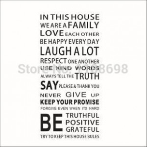 New Arrival English Quotes In The House Wall Stickers Rooms Art Vinyl