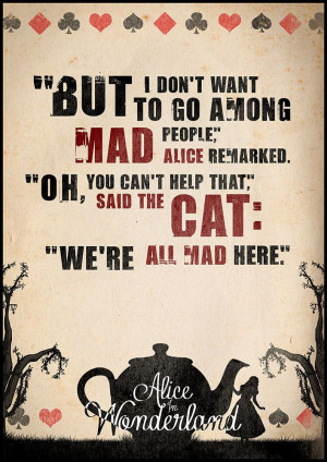 Alice in Wonderland, Quote Poster, Typographic Print, Wall Decor ...