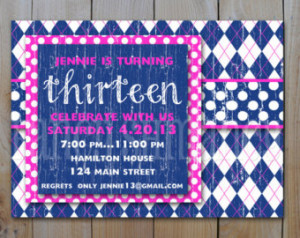 13th Birthday Invitation Digital Fi le, Hot Pink and Blue Argyle with ...