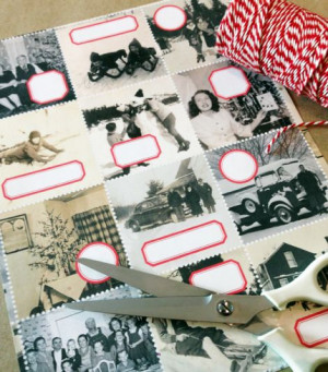 ... labels made from old photos and dennison labels from Cathe Holden