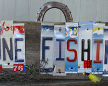 Gone Fishing License Plate Wood Fen ce Pane Sign Lakehouse Sign ...