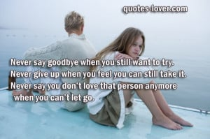 Never say goodbye when you still want to try. Never give up when you ...