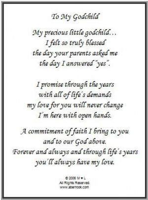 Godmother to Goddaughter Poems | Godchild Poem Frame