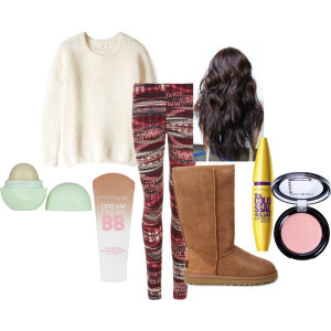 Source teamcato polyvore lazy day hair makeup outfit set