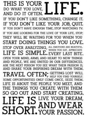 How I've lived my life.. how I want to go on living it... ... But ...