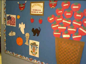 Tape their completed apples onto the bulletin board.